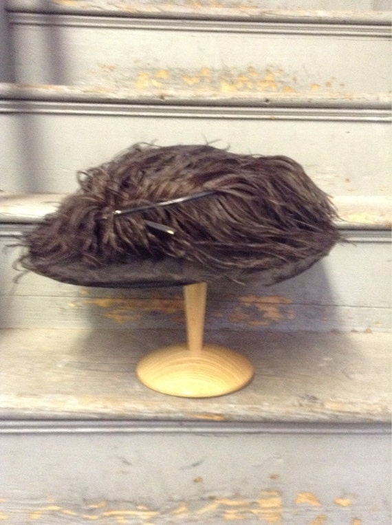 Vintage black feather hat - Merry widow - Downton