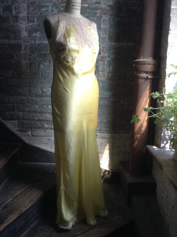 Jean Harlow Yellow Silk Nightgown 1930 vintage