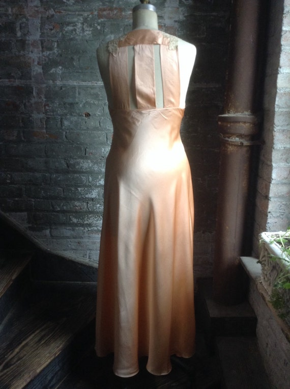 Silk charmeuse peaches and cream vintage nightgown - image 3