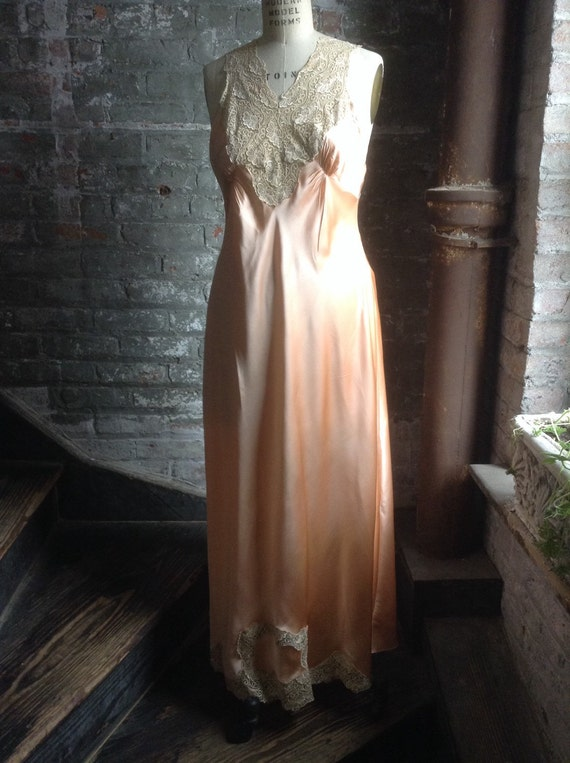 Silk charmeuse peaches and cream vintage nightgown - image 1
