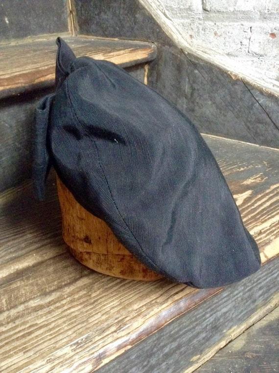 Black rayon faille beret vintage - image 5