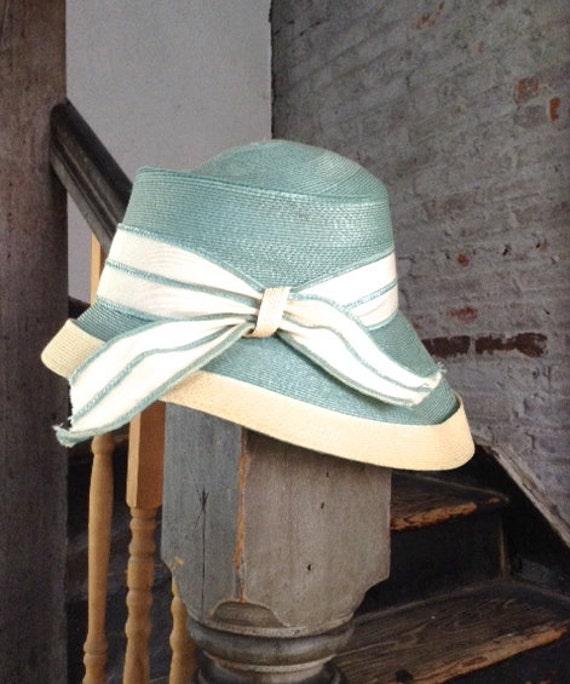 Schiaparelli blue & white hat - Spring / summer ha