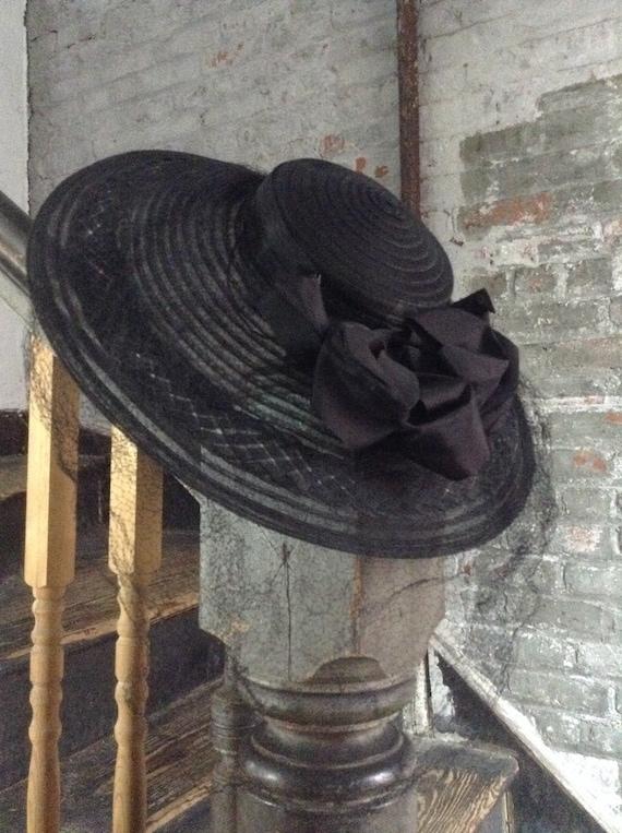 WWII Vintage Black Horsehair Picture Hat