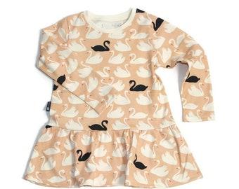 Baby or Toddler Organic swan Peplum top - Long sleeve shirt  for girls - Peaches and Cream
