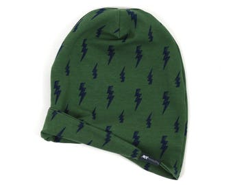 NEW DESIGN - reversible beanie - forest green with navy lightning bolt - slouch beanie - hipster beanie