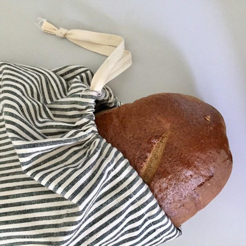 Bread Bag  Striped organic cotton hemp canvas image 0