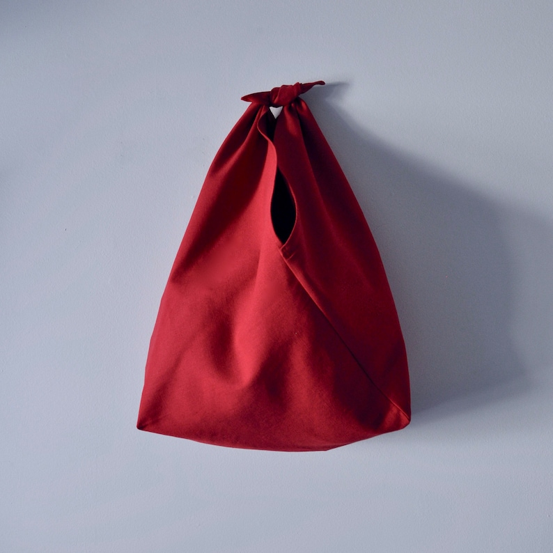 Extra Large Bento Bag CRIMSON Organic cotton/hemp Canvas image 0