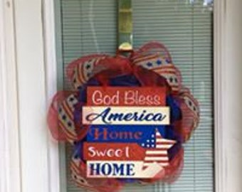 Red God Bless America Wreath