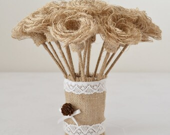 Burlap Flowers with Stems, Rustic, Shabby Chic Wedding Decor, SET OF 20