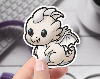 DnD Cute Sticker   Chromatic White Dragon   Original Artwork   Cute Vinyl Laptop Sticker