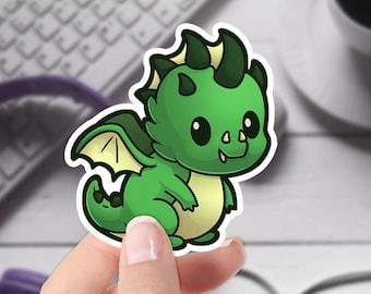 DnD Cute Sticker   Chromatic Green Dragon   Original Artwork   Cute Vinyl Laptop Sticker