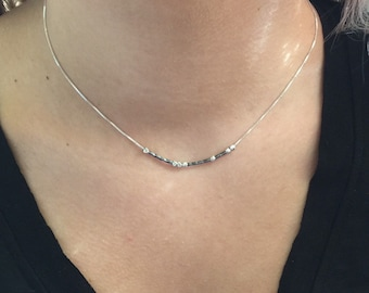 """PEACE Sterling Silver Morse Code """"Peace"""" Necklace"""