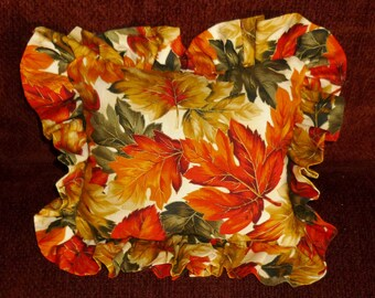 Autumn leaves on cream...seasonal pillows stuffed with dried balsam tips. The fresh scent of woodland and forest...makes a delightful gift!