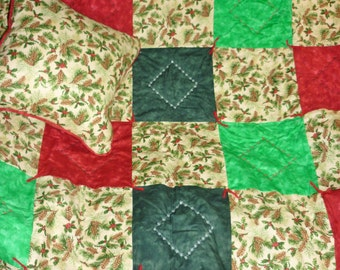 "Christmas Pines...Caring Quilt set...includes one lap quilt at 44"" x 52"", hand-tied and machine-embroidered, with matching 14"" x 14"" pillow."