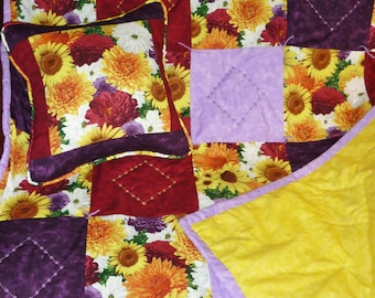 "Fall Flowers...Caring Quilt Set...includes one lap-sized quilt, 44"" x 52"", hand-tied and machine-embroidered, with matching 14"" x14"" pillow"