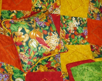 "Abundant Harvest...Caring Quilt Set...includes a lap-sized quilt 44"" by 52"", hand-tied and machine-embroidered, plus matching 14"" pillow."