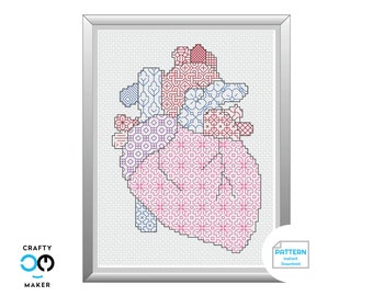 Anatomical Heart Blackwork Pattern | Health Care Professional Gift | Science Valentine