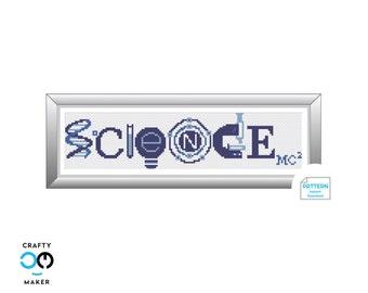 Science Emoji Cross Stitch Pattern | Cross Stitch Pattern | Emoji Art | Geek Gift | Emoji Wall Art | Albert Einstein Gift