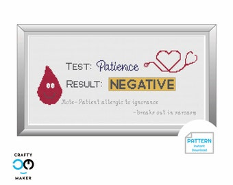 Test Result Cross Stitch Pattern | Mental Health Art | Cross Stitch Pattern | Medical Professional Gift | Patience Tested