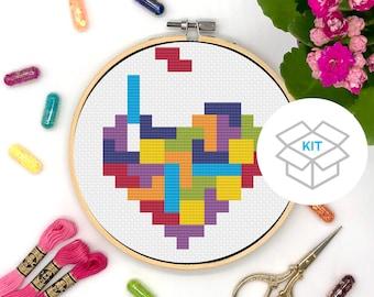 Tetris Heart Cross Stitch Kit | Tetris Game | Video Game Cross Stitch Kit | Video Game Art