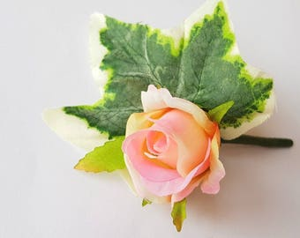 Pink small rosebud corsage wedding Boutonniere groom flowers ivy leaf
