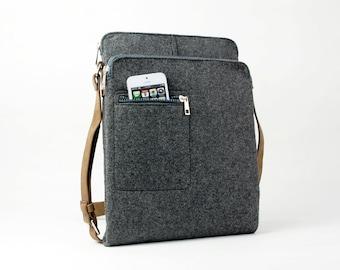 Gray Felt Messenger Bag Shoulder Bag Crossbody Bag iPad Bag School Bag  Business Bag with Retro Leather Straps E1738-MGra01 9245503dc2432