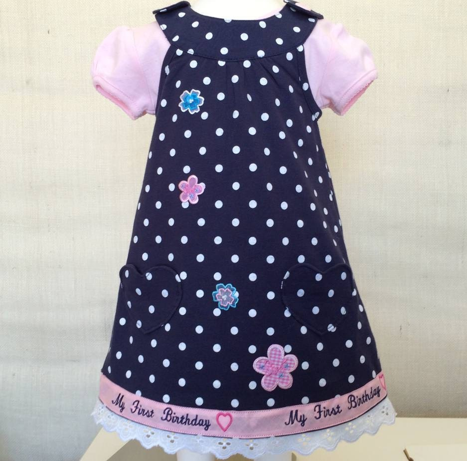 12 MO Carters Polka Dot First Birthday Embroidered Outfit