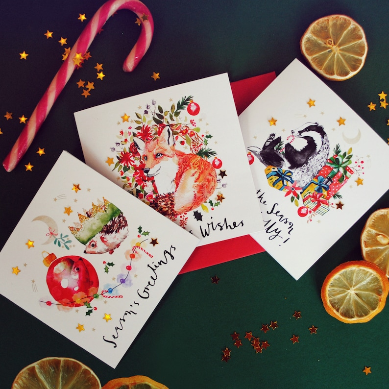 Pack of 6 Whimsical Woodland Christmas Cards with Gold Stars image 0