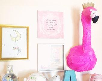 Flamingo, Faux Animal Head, Faux Taxidermy, Animal Head Nursery, Pink Flamingo, Wall Mount, Glamping Decor,Fake Animal Head,Flamingo Nursery