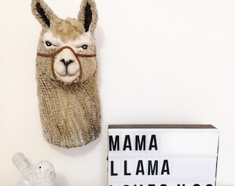 Llama llama, Llama Head, Faux taxidermy, Llama Decor, Llama gifts, Animal Head Wall Mount, Llama Nursery, Boho Kids Decor, Llama Baby, Love