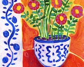 FIESTA FLOWERS Art Print,Floral Still Life,Folk Art,Colorful Flowers in Blue and White Pot,Happy Art,Bright Floral Painting,Whimsical Print