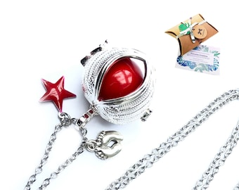 Angel wing harmony ball necklace, long bola necklace, long silver harmony ball, red ball pregnancy necklace
