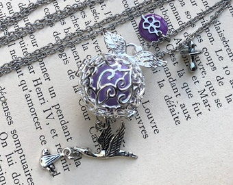 Bola necklace, pregnancy necklace, purple harmony ball necklace, pregnancy gift, shower party