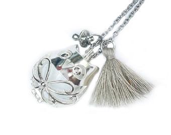 Owl harmony ball necklace, white harmony ball, baby boy bola necklace, harmony ball