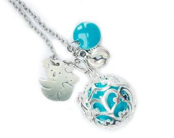 Tonal harmony necklace, tonal bola, turquoise pregnancy necklace, boy harmony ball necklace, pregnancy gift, shower party, cat charm
