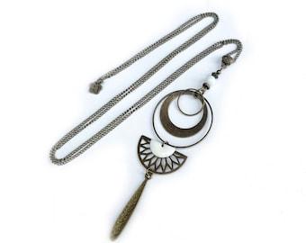 Long white pendant necklace, white enameled pendant necklace, vintage french pendant necklace