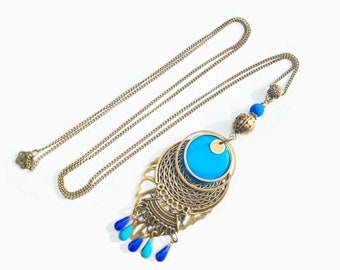 Long pendant necklace with blue enameled round charm pendant , long bohemian necklace ,bronze necklace