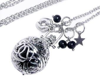 Bola, pregnancy necklace, black harmony ball necklace, pregnancy gift, baby feet