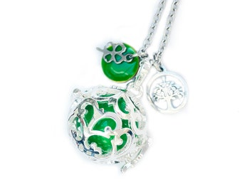 Long Bola, pregnancy necklace, green harmony ball necklace, pregnancy gift, shower party, baby feet charm