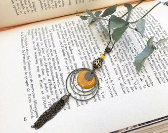 Long pendant necklace, mustard yellow enameled round pendant, brass jewel