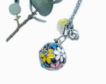 Flowered harmony ball, silver ola, pregnancy necklace, grey harmony ball necklace, pregnancy gift, flower bola