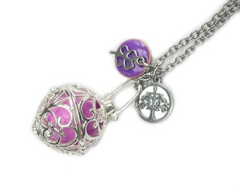 Tonal bola necklace, tonal pregnancy necklace, purple harmony ball necklace, pregnancy gift, shower party