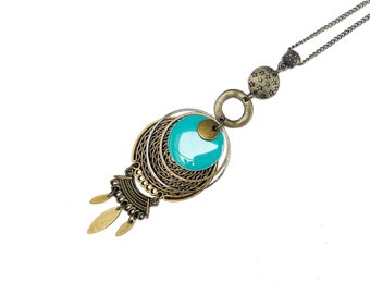 Long pendant necklace with turquoise enameled charm, long bohemian necklace, vintage french jewel