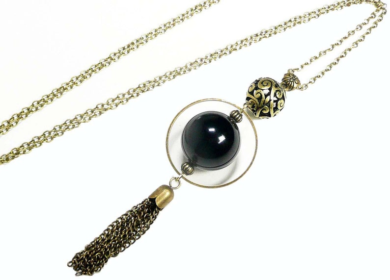 Long pendant necklace bronze jewelry long pompom pendant image 0
