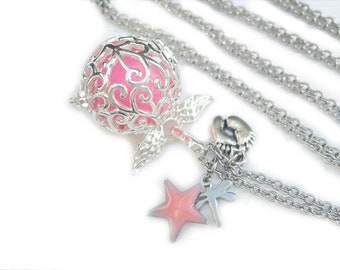 Pink harmony ball necklace, silver bola, long pregnancy necklace, harmony ball necklace, pregnancy gift, shower party