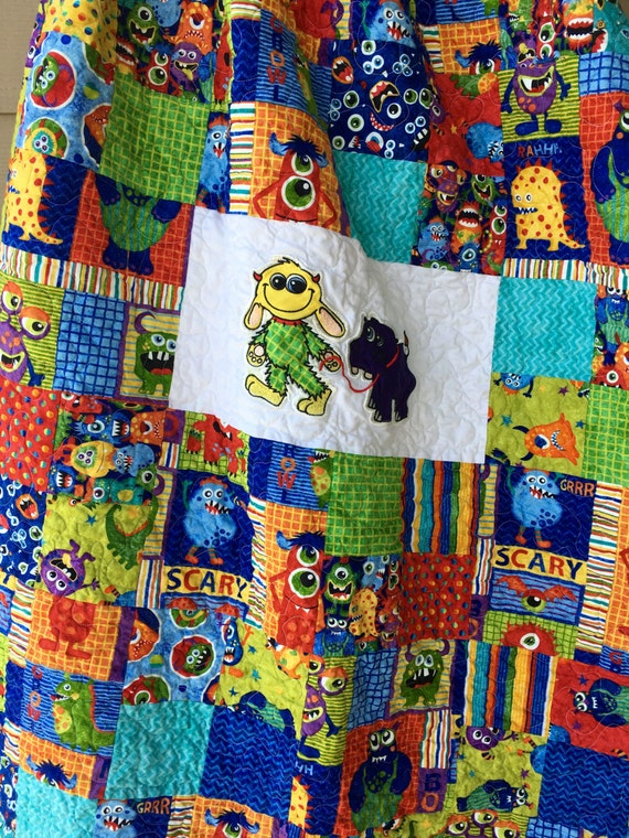 Ready To Ship Baby Monster Quilt Toddler Monster Quilt Etsy