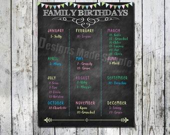Family Birthday Calendar Poster - Faux Chalkboard - Printable