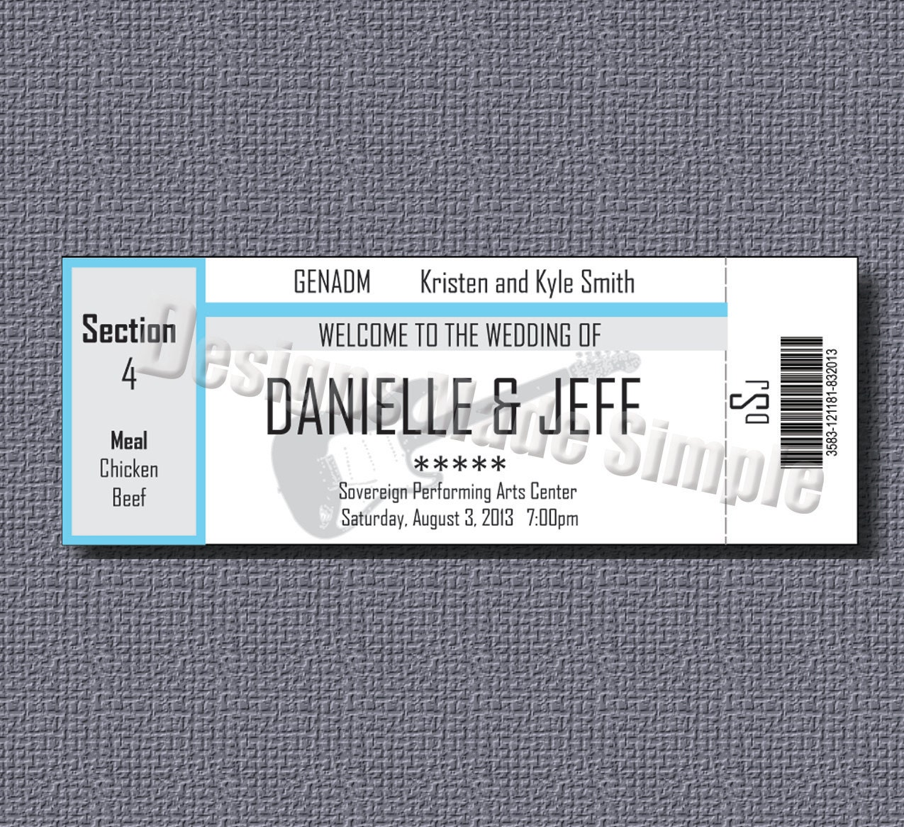 Concert Ticket Wedding Place Cards Printables | Etsy