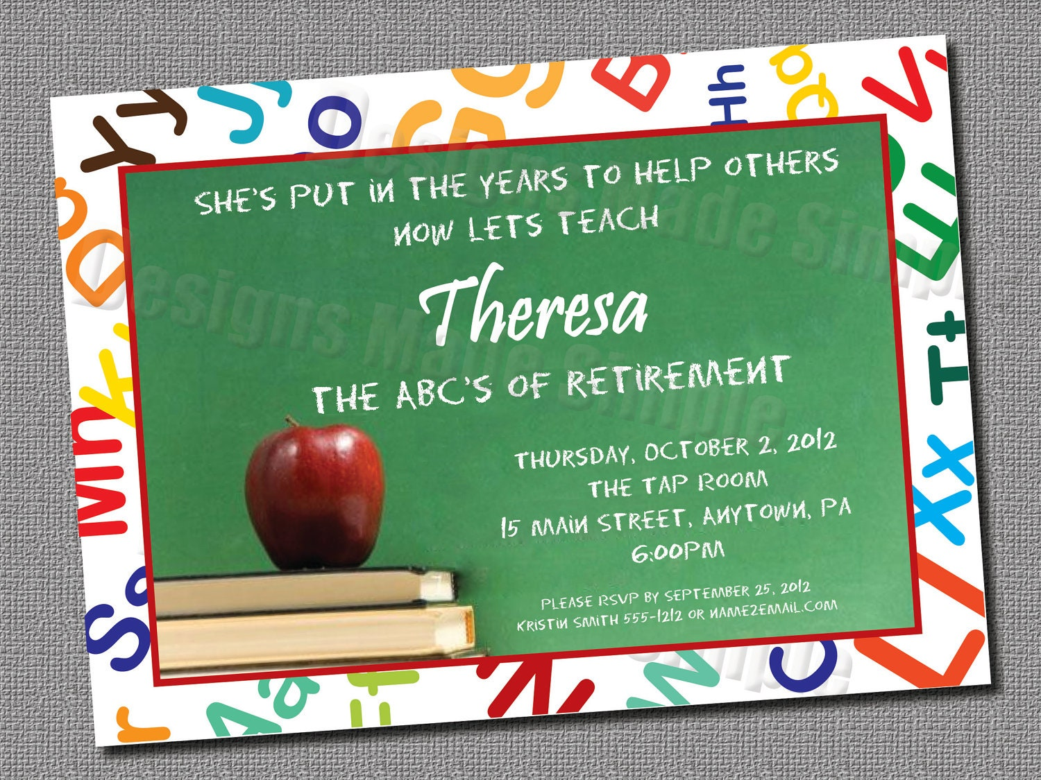 picture about Free Printable Retirement Cards named Instructor Retirement Get together Invitation - Customized Printable