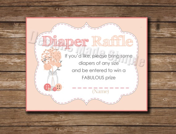 Baby Shower Invite Insert Diaper Raffle Cute as a Button | Etsy